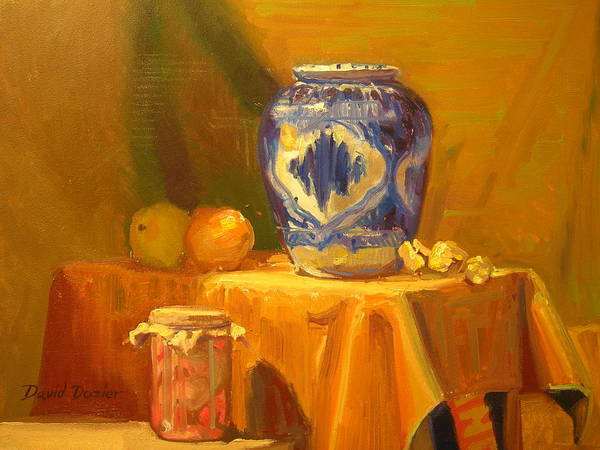 Still Life Poster featuring the painting Persian Vase And Fruit Jar by David Dozier