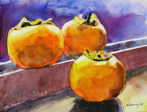 Melody Cleary Poster featuring the painting Persimmon by Melody Cleary