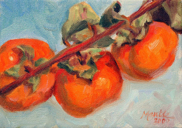 Fruit Poster featuring the painting Persimmons by Athena Mantle