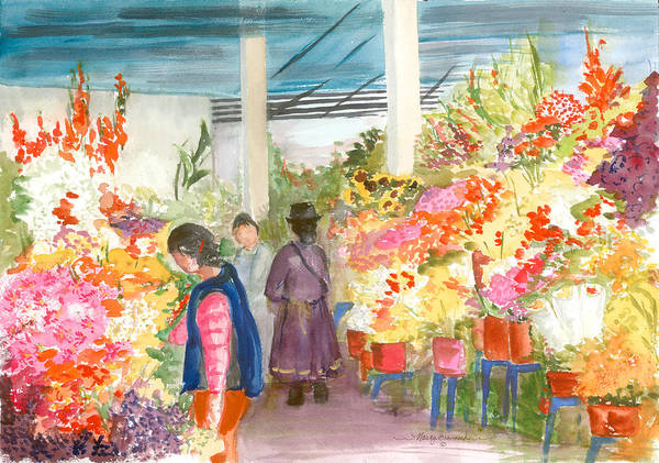 Floral Poster featuring the painting Peruvian Flower Market by Nancy Brennand