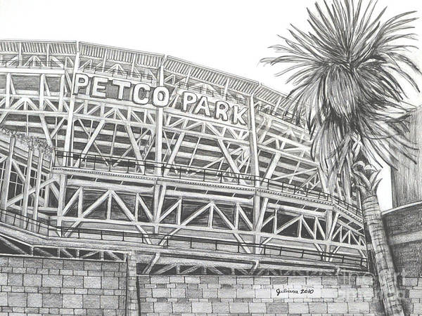 Petco Park Poster featuring the drawing Petco Park by Juliana Dube