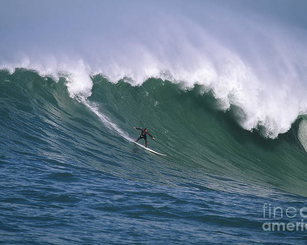 Mavericks Poster featuring the photograph Pete On A Perfect Day At Mavericks by Stan and Anne Foster