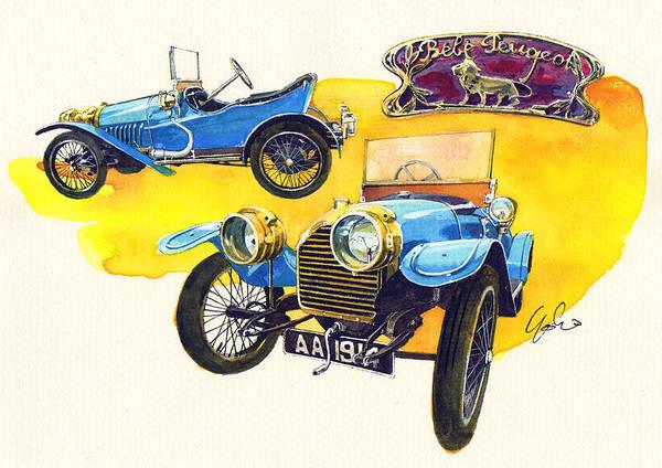 Peugeot Bebe (baby) 1914 Poster featuring the painting Peugeot Bebe by Yoshiharu Miyakawa