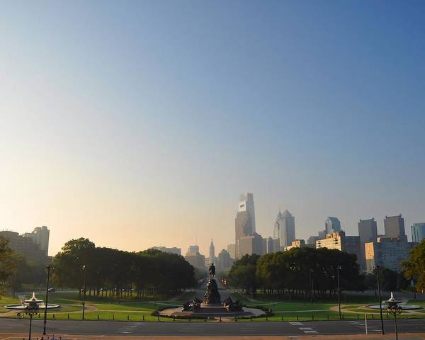 Eakins Oval Poster featuring the photograph Philadelphia Across Eakins Oval by Bill Cannon