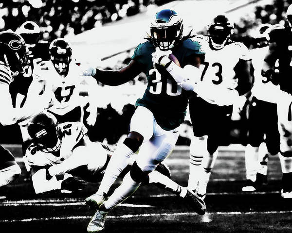 Jay Ajayi Poster featuring the mixed media Philadelphia Eagles 5b by Brian Reaves