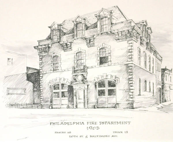 Philadelphia Firehouse Fire Firefighting Poster featuring the painting Philadelphia Firehouse by William McCullagh