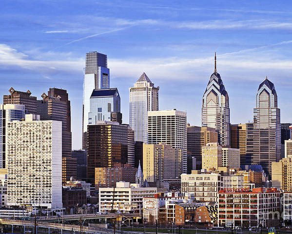 Pennsylvania Poster featuring the photograph Philadelphia Skyline by John Greim