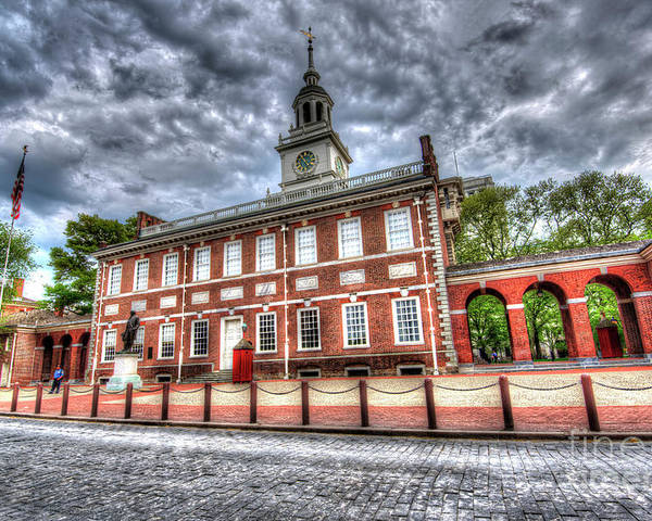 Ben Poster featuring the photograph Philadelphia's Independence Hall Under The Clouds by Mark Ayzenberg