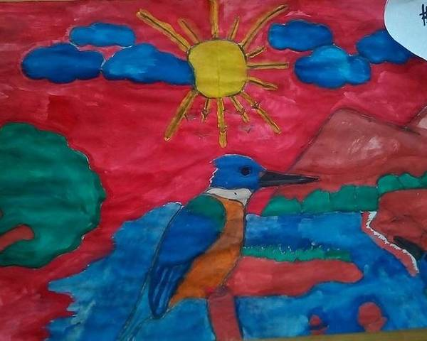 Poster featuring the painting Philippine Kingfisher Painting Contest 4 by Carmela Maglasang