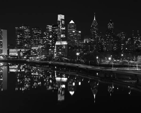 Philadelphia Poster featuring the photograph Philly And The Schuylkill Bw by Jennifer Ancker
