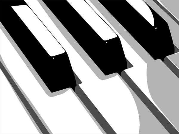 Piano Poster Featuring The Digital Art Keyboard By Michael Tompsett