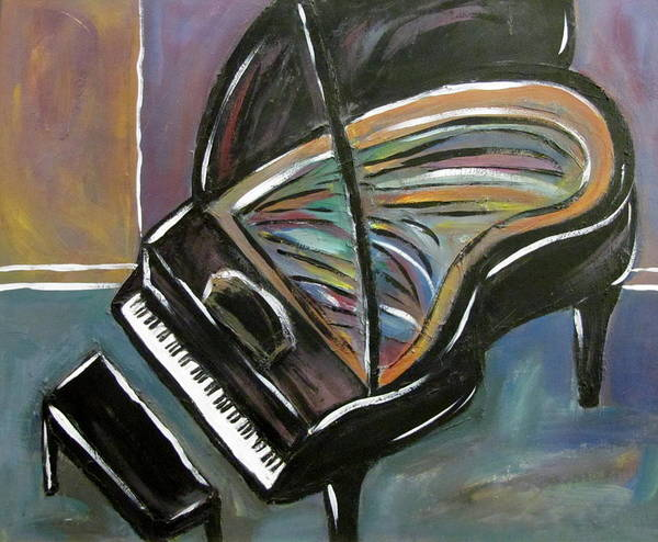 Impressionist Poster featuring the painting Piano With High Heel by Anita Burgermeister