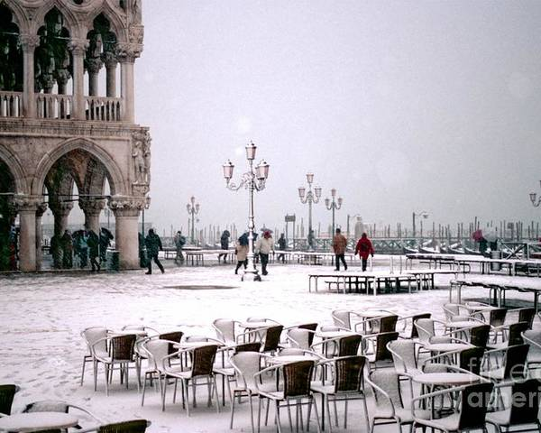 Venice Poster featuring the photograph Piazzetta San Marco In Venice In The Snow by Michael Henderson