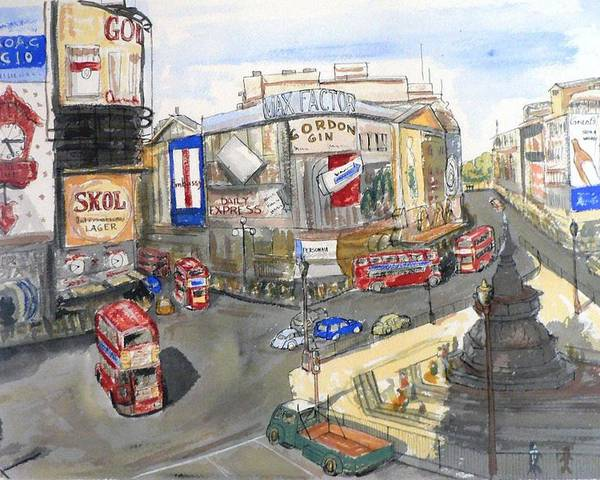 Street Scene Poster featuring the painting Picadilly Circus by Dan Bozich