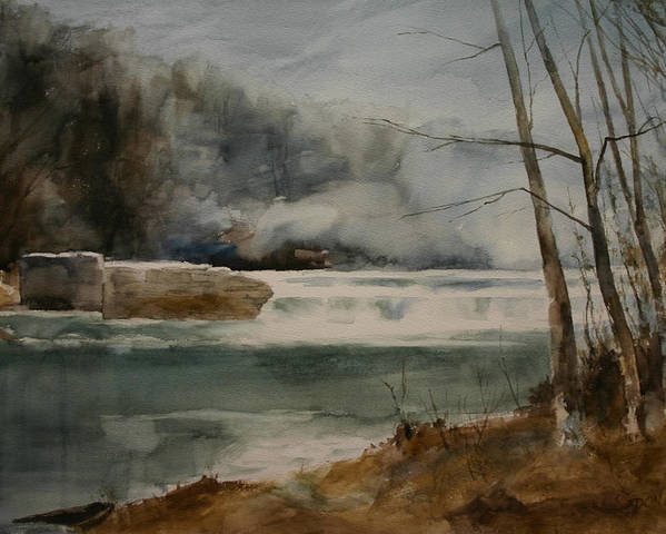 Landscape Poster featuring the painting Picketts Dam by Don Cull