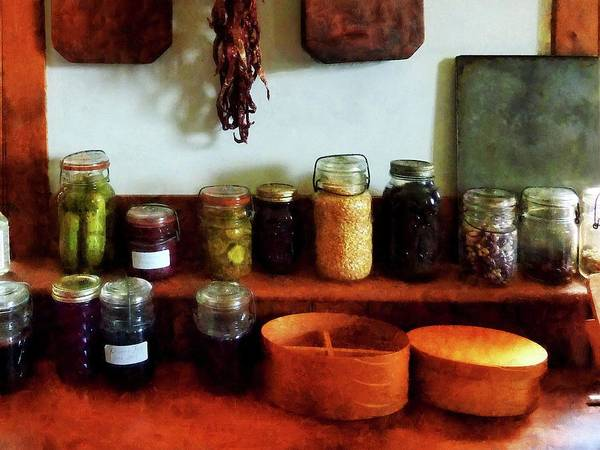 Corn Poster featuring the photograph Pickles Beans And Jellies by Susan Savad