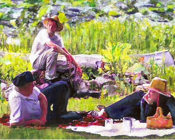 Lake Poster featuring the painting Picnic By The Lake by Randy Sprout