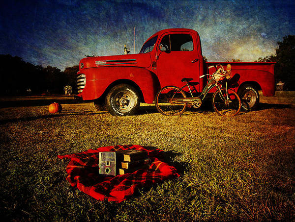 Red Ford Trucks Poster featuring the photograph Picnic Time 2 by Toni Hopper