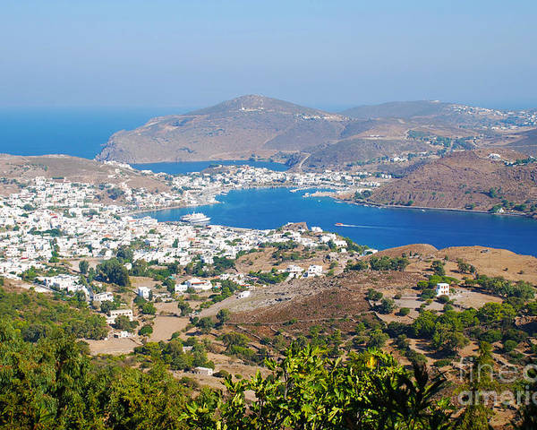 Patmos Poster featuring the photograph Picturesque View Of Skala Greece On Patmos Island by Just Eclectic