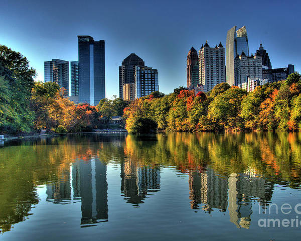 Piedmont Park Atlanta City View Poster featuring the photograph Piedmont Park Atlanta City View by Corky Willis Atlanta Photography
