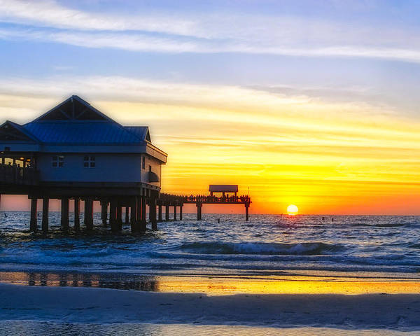 Beach Poster featuring the Pier At Sunset Clearwater Beach Florida by George Oze