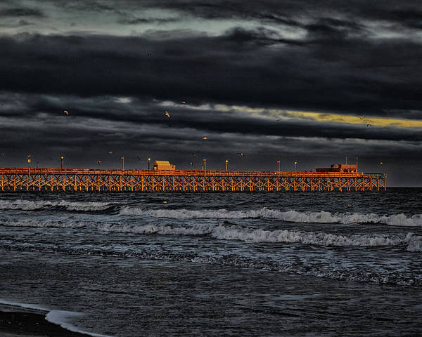Atlantic Poster featuring the photograph Pier Into Darkness by Kelly Reber