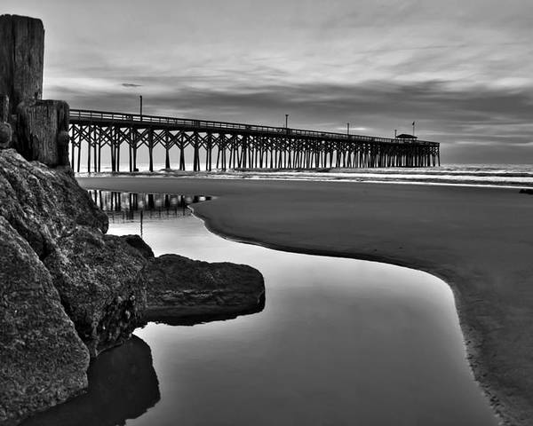 Pawleys Island Photographs Poster featuring the photograph Pier Reflections by Ginny Horton