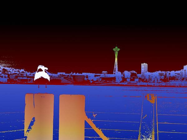 Seattle Poster featuring the digital art Pier With A View by Tim Allen