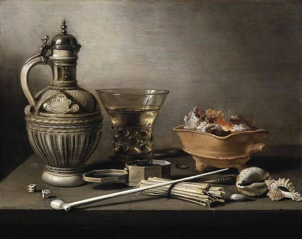 Art Poster featuring the painting Pieter Claesz - Still Life With A Stoneware Jug, Berkemeyer, And Smoking Utensils 1640 by Pieter Claesz