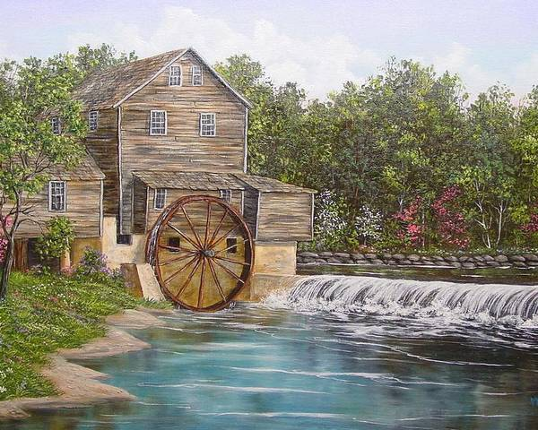 Landscape Poster featuring the painting Pigeon Forge Mill by Marveta Foutch