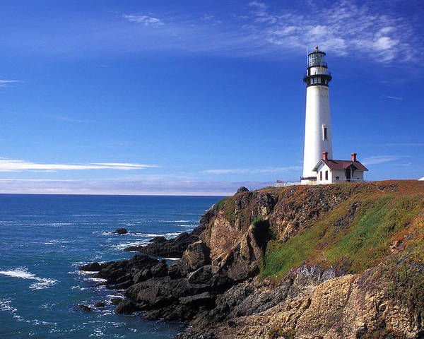 Lighthouses Poster featuring the photograph Pigeon Point Lighthouse 2 by Kathy Yates