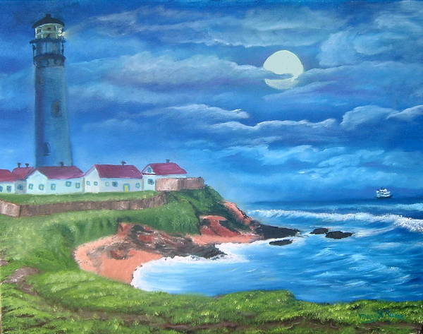 Lighthouse Poster featuring the painting Pigeon Point Lighthouse Ca by Mary Kaser