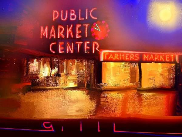Seattle Poster featuring the painting Pike Place Market by Lee Gallaher