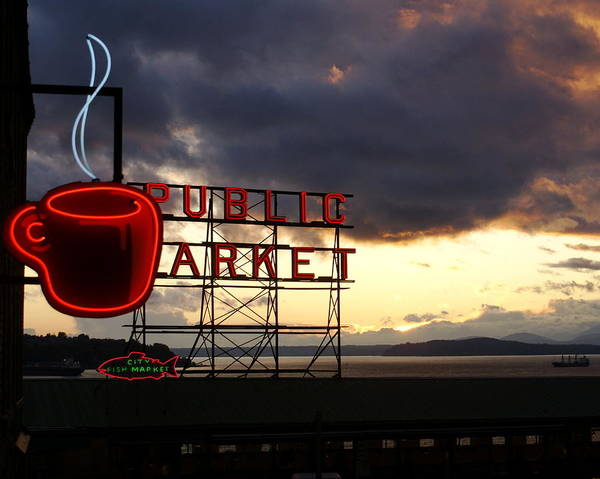 Abstract Poster featuring the photograph Pike Place Market by Sonja Anderson