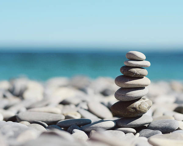Horizontal Poster featuring the photograph Pile Of Stones On Beach by Dhmig Photography