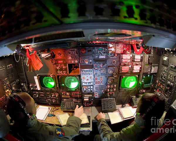 Horizontal Poster featuring the photograph Pilots At The Controls Of A B-52 by Stocktrek Images
