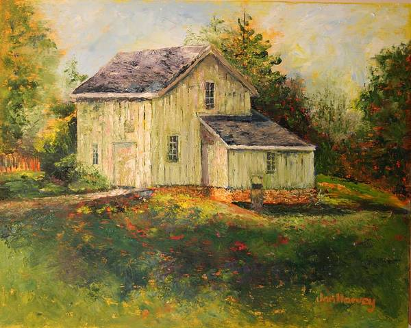 Landscape Poster featuring the painting Pine Hill Barn by Jan Harvey