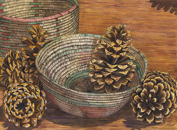 Pinecone Poster featuring the painting Pinecones by Catherine G McElroy