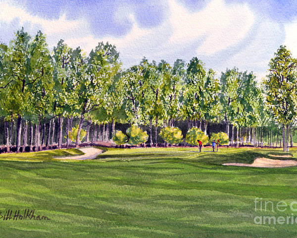 Golf Poster featuring the painting Pinehurst Golf Course 17th Hole by Bill Holkham