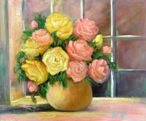 Roses Poster featuring the painting Pink And Yellow Roses by Sally Seago