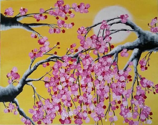 Cherry Blossoms Poster featuring the painting Pink Blossoms / Yellow Skies by Greta Malvecino