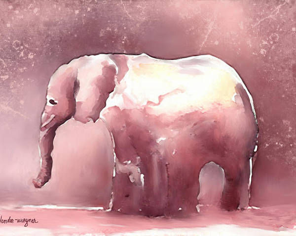 Elephant Poster featuring the digital art Pink Elephant by Arline Wagner