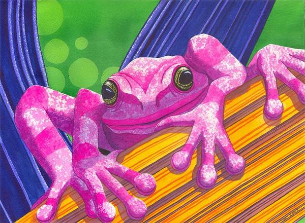 Frog Poster featuring the painting Pink Frog by Catherine G McElroy