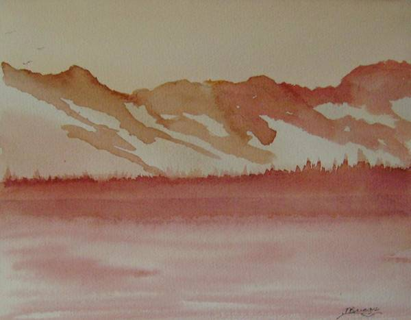 Mountains Poster featuring the painting Pink Mountains by Dottie Briggs