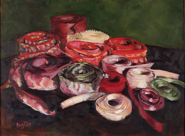 Ribbons Poster featuring the painting Pink Ribbons by Kathy Busillo