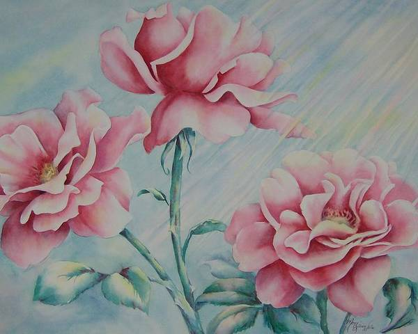 Roses Poster featuring the painting Pink Roses by Mary Lillian White