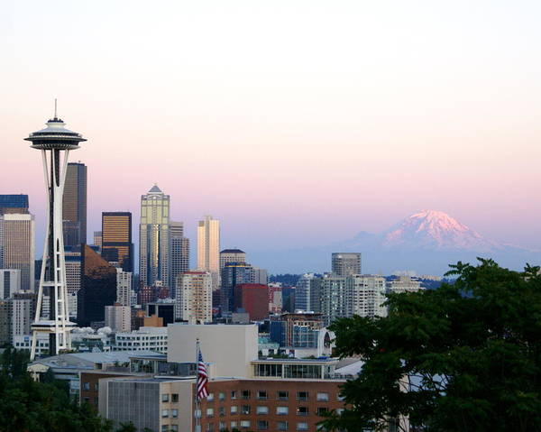 Cityscape Poster featuring the photograph Pink Sky Over Mount Rainier by Sonja Anderson