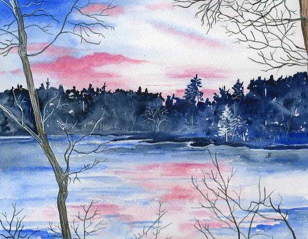 Watercolor Poster featuring the painting Pink Sky Reflections by Brenda Owen