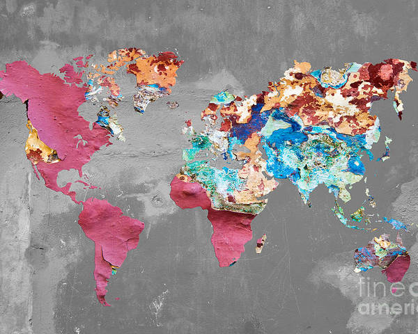 Pink Street Art World Map Poster By Delphimages Photo Creations - Pink world map poster