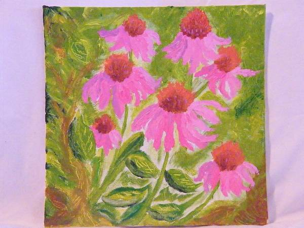 Flowers Poster featuring the painting Pink Sunshine by Margaret G Calenda
